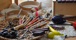 pile of music therapy tools and instruments